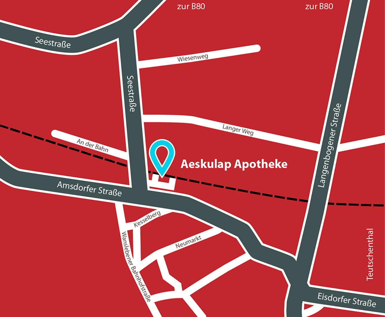 Anfahrt Karte Äskulap Apotheke, An der Bahn 2, 06317 Seegebiet Mansfelder Land / OT Wansleben
